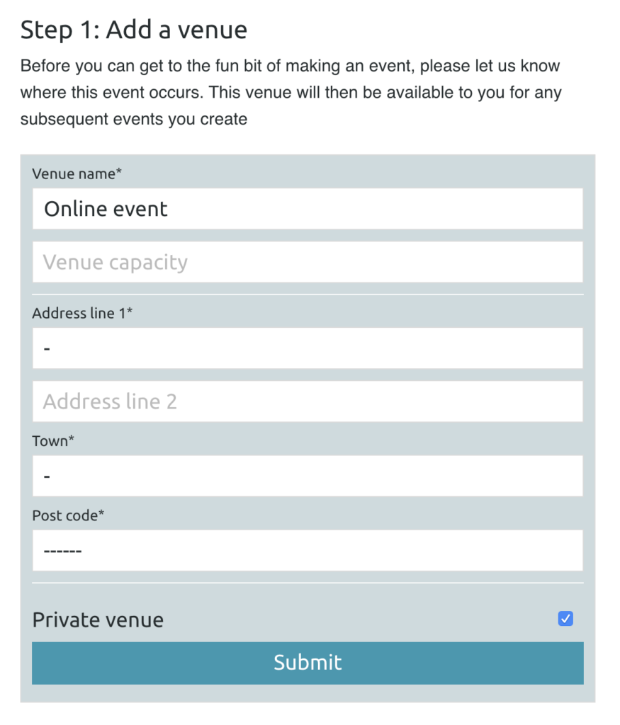 Create an Online event venue